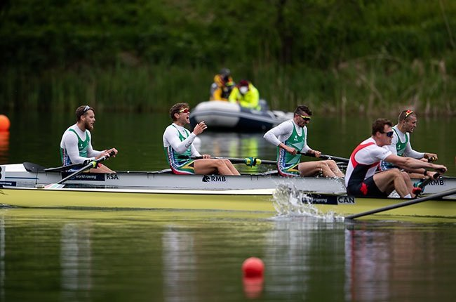 South African rowing team Lawrence Brittain, Kyle Schoonbee, John Smith and Sandro Torrente
