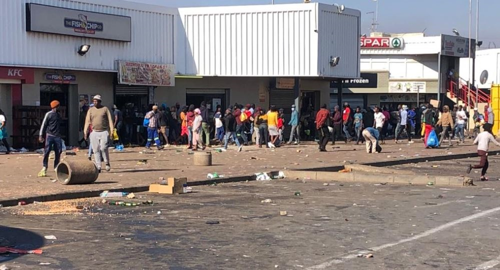 Scenes of looting during the ongoing violent unrest in Johannesburg.