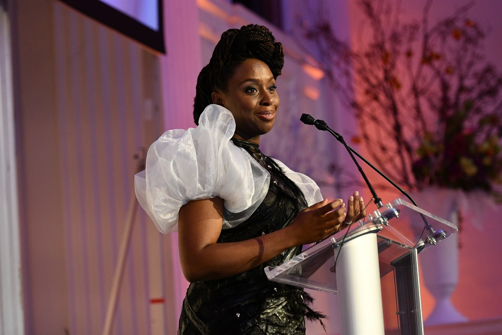 Chimamanda Adichie speaks at the 2018 Action Against Hunger Gala at 583 Park Avenue on October 30, 2018 in New York City. (Photo by Jared Siskin/Patrick McMullan via Getty Images)