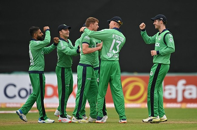 Ireland's cricketers celebrate. (Photo by Seb Daly/Gallo Images)