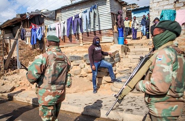 SANDF members patrol the streets of Alexandra.