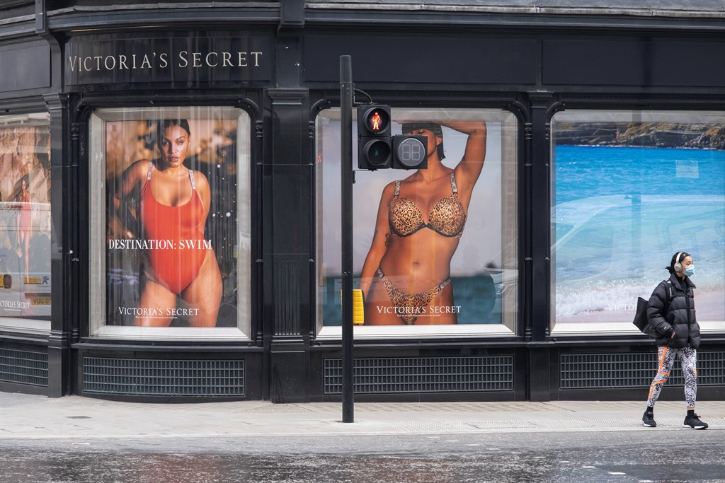 Large scale advertising pictures outside Victoria's Secret lingerie store in London, United Kingdom. (photo by Mike Kemp/In Pictures via Getty Images)