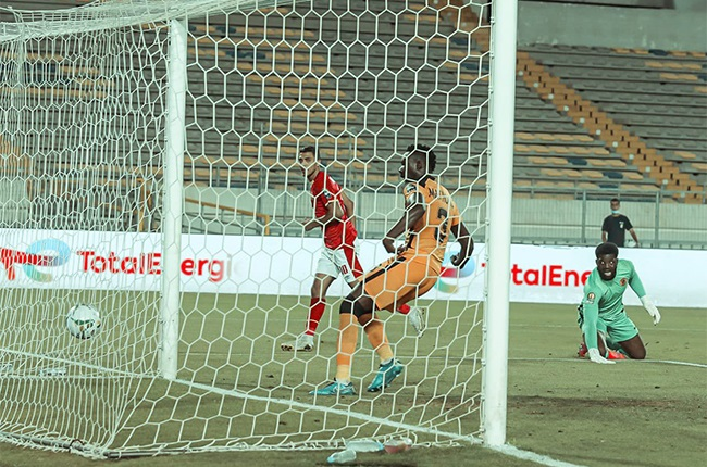 Al Ahly striker Mohamed Sherif celebrates scoring in the CAF Champions League final. (Supplied)