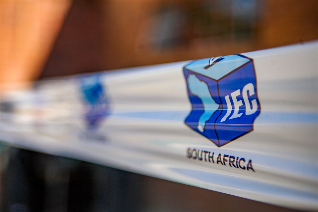 IEC barrier tape at a voting station.