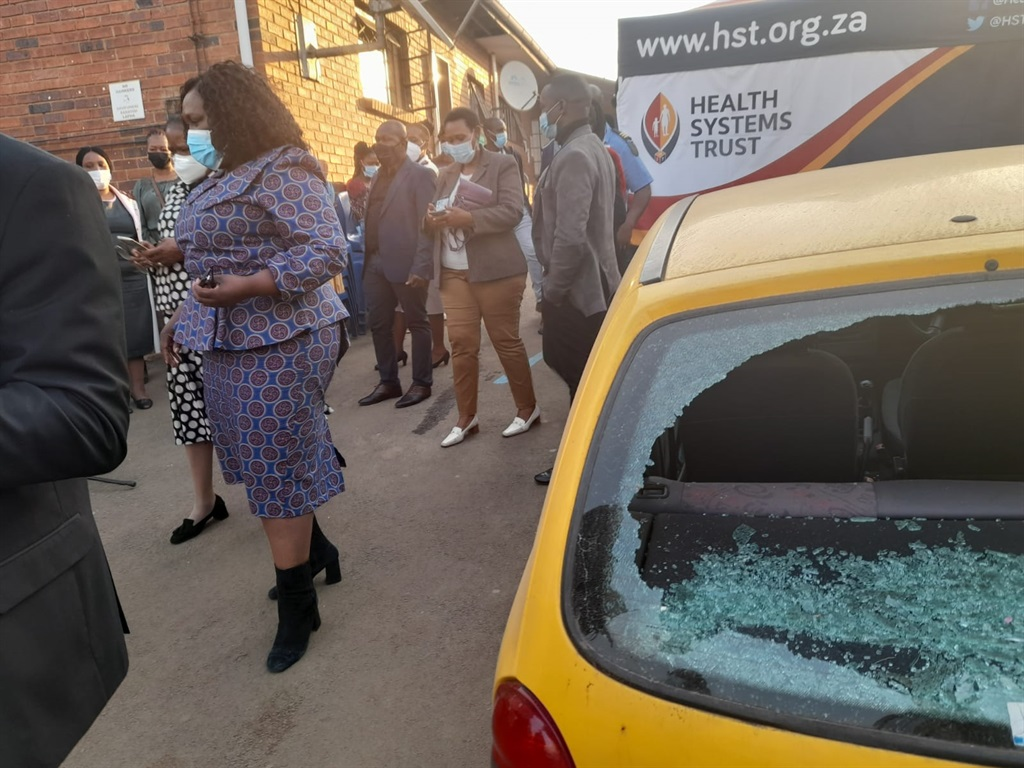 A vehicle that was damaged at KwaPata Clinic in Pi