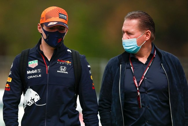 Max Verstappen of Netherlands and Red Bull Racing arrives at the track with his father, Jos Verstappen prior the F1 Grand Prix of Spain at Circuit de Barcelona-Catalunya on May 09, 2021 in Barcelona, Spain.