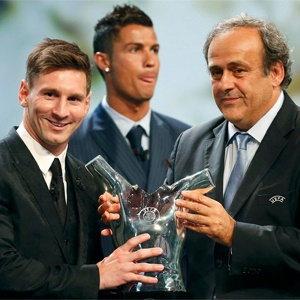Lionel Messi and Michel Platini (Getty Images)