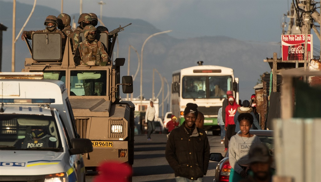 CAPE TOWN, SOUTH AFRICA - JULY 22: Soldiers from S