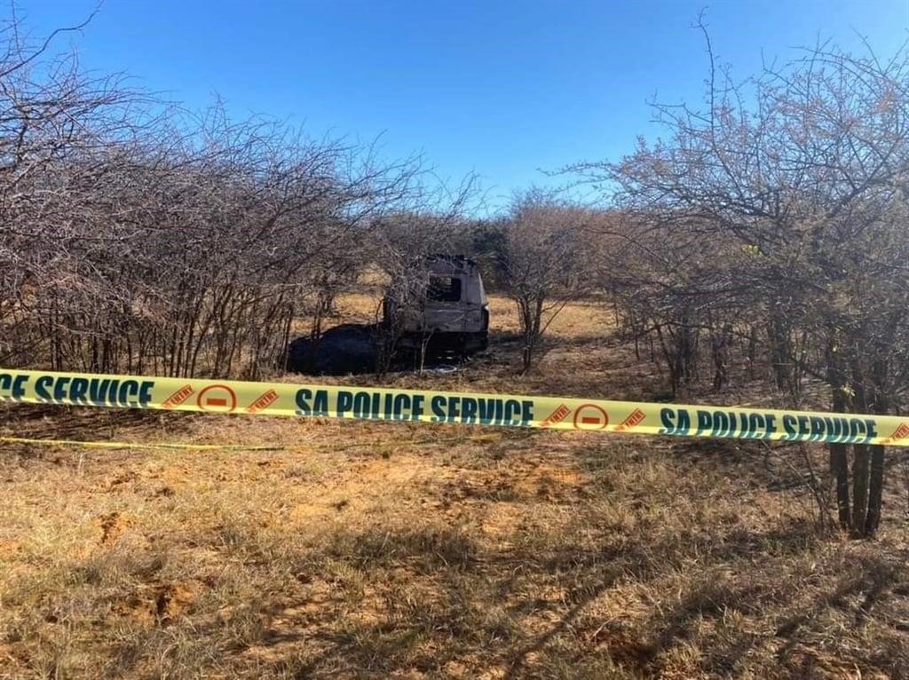 A burnt police vehicle. Photo: Morongwa Community Newspaper