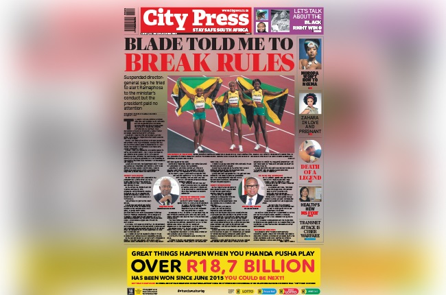 August 1 front page of City Press.