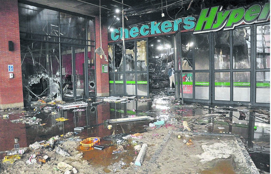 The aftermath of the looting that took place at Brookside Mall in Pietermaritzburg.