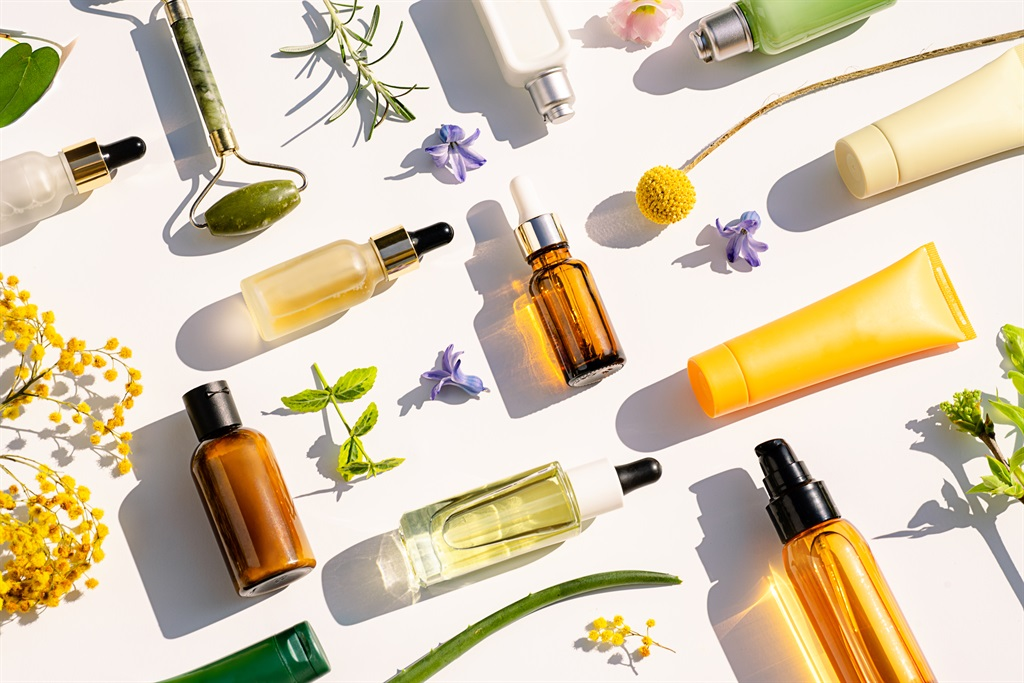 Trendy Collage made of Natural Cosmetics and Beaut