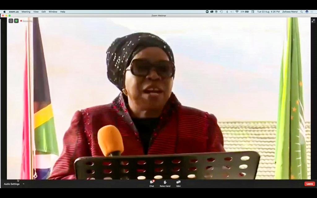 Minister of Cooperative Governance and Traditional Affairs Nkosazana Dlamini Zuma on the 2021 local election developments on August 3 in Ekurhuleni. Photo: Gallo Images/OJ Koloti