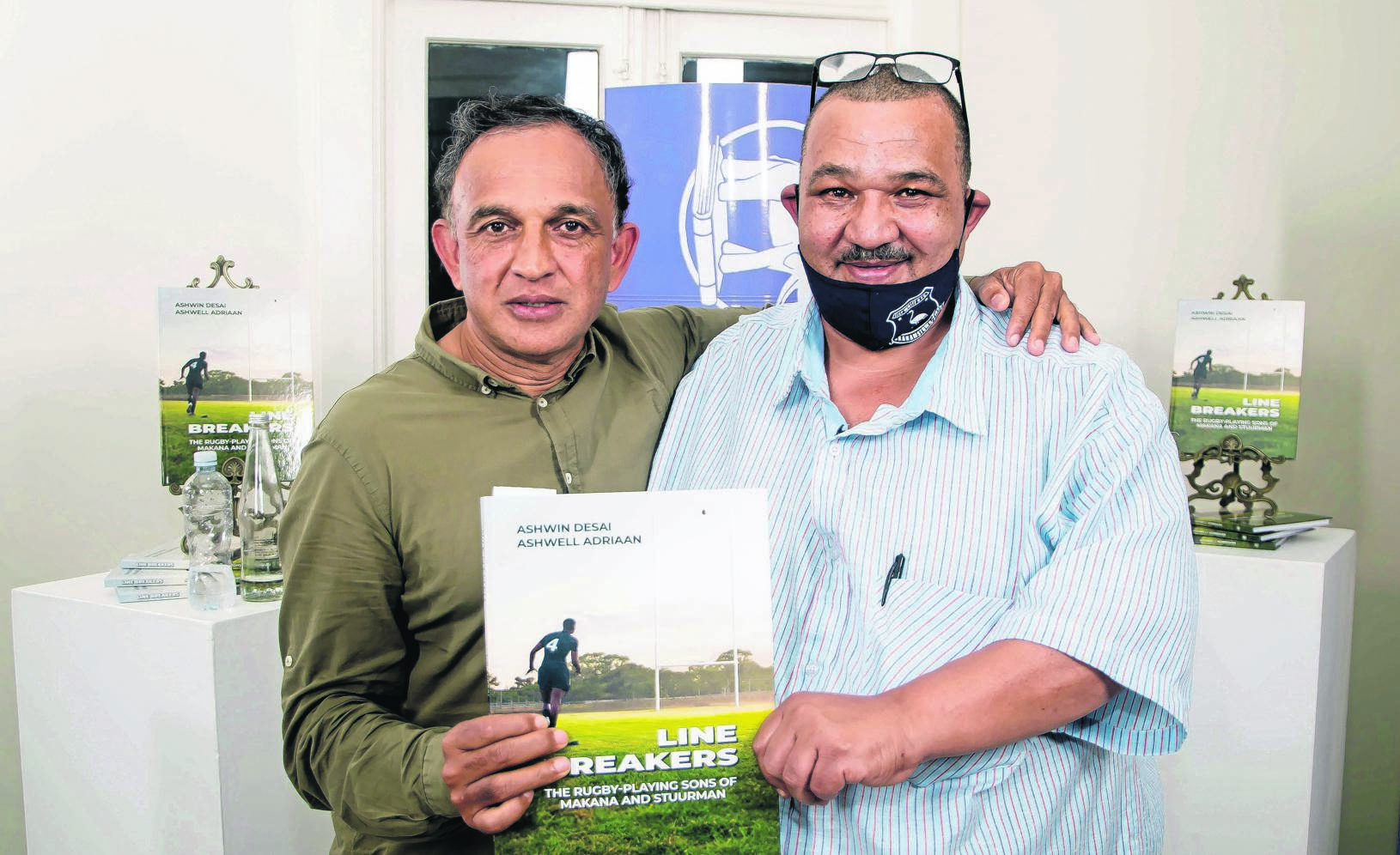 Professor Ashwin Desai (left) and Ashwell Adriaan co-authors of 'Line Breakers: the rugby-playing Sons of Makana and Stuurman'.
