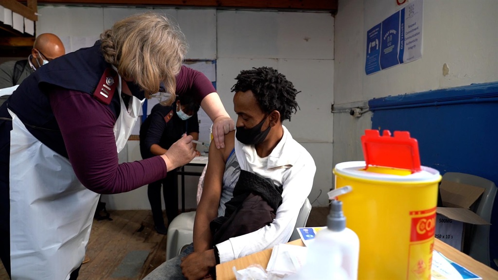 Hundreds of Cape Town's homeless queued to receive their J&J vaccine jabs.