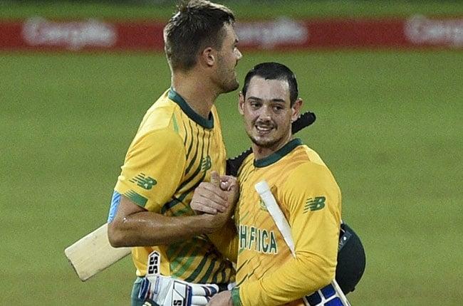 South African batsmen Quinton de Kock and Aiden Markram