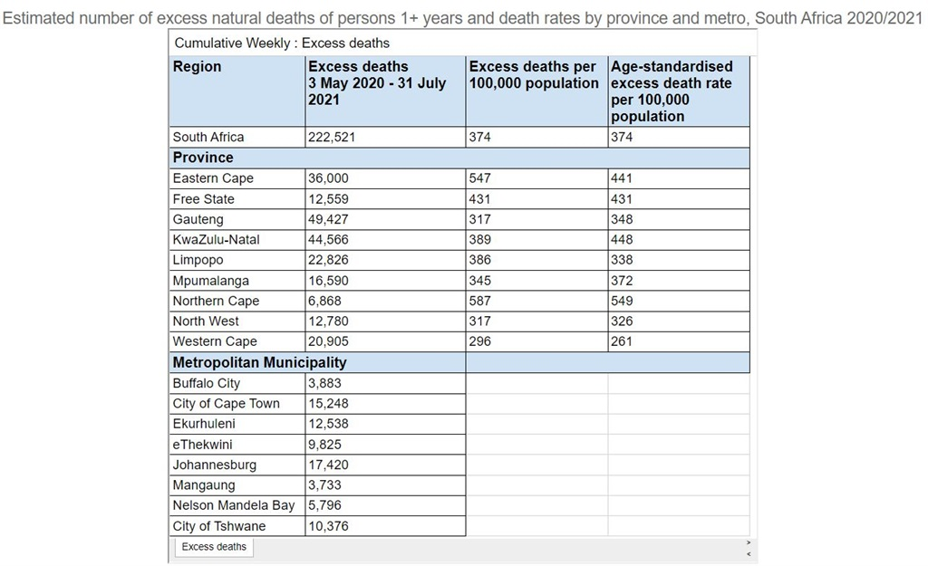 Excess deaths South Africa Covid-19