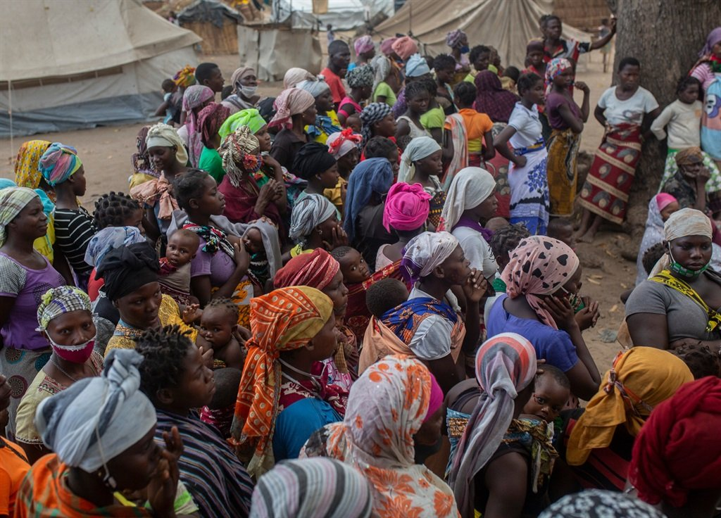 Displaced women meet at the Centro Agr‡rio de Napala where hundreds of displaced arrived in recent months are sheltered, fleeing attacks by armed insurgents in different areas of the province of Cabo Delgado, in northern Mozambique.