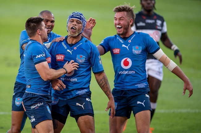 Lionel Mapoe celebrates his try. (Photo by Anton Geyser/Gallo Images)