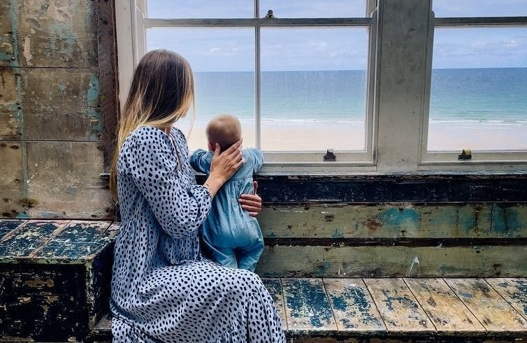Looking to the future: Charley and her baby daughter.
