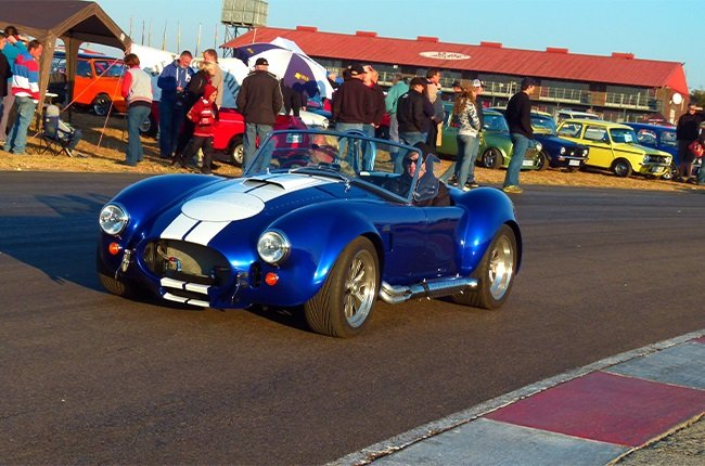A Cobra cruising the track at a Cars in the Park classic show a few years back.