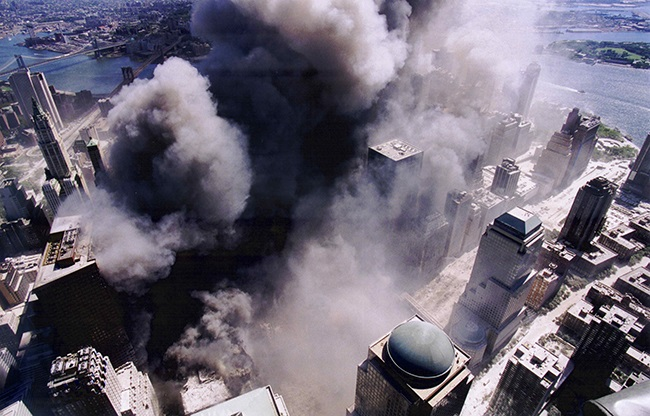 Aerial Shot of the World Trade Center during the S