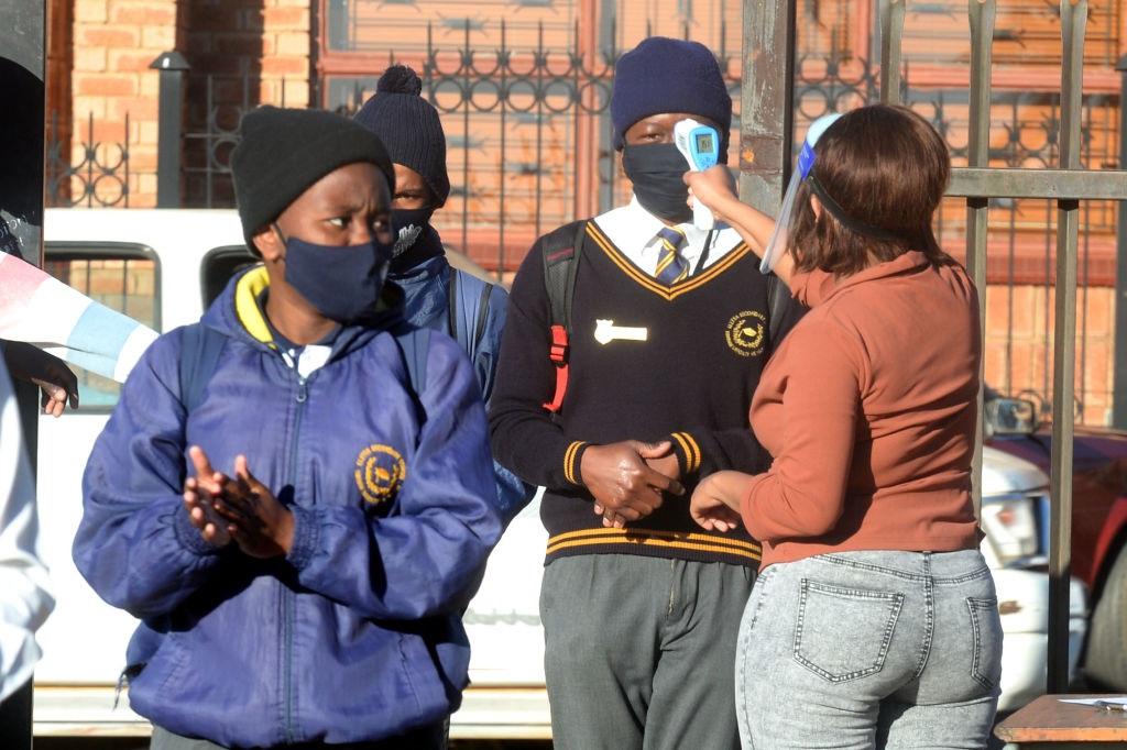 BRITS, SOUTH AFRICA - AUGUST 04: Pupils temperatur