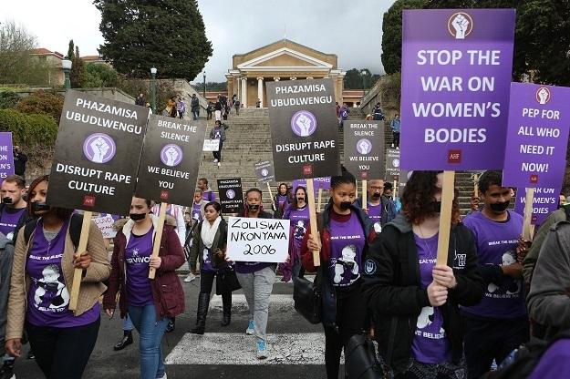UCT students march against gender-based violence.