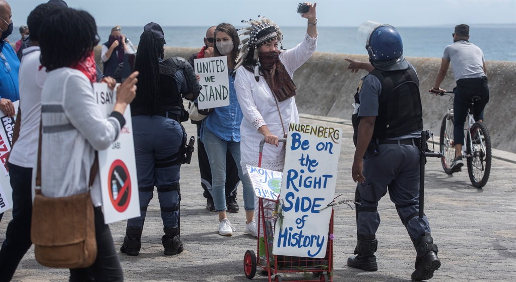 CAPE TOWN, SOUTH AFRICA - OCTOBER 09: Protesters i