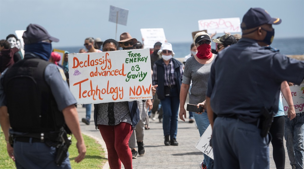CAPE TOWN, SOUTH AFRICA - OCTOBER 09: Protesters b