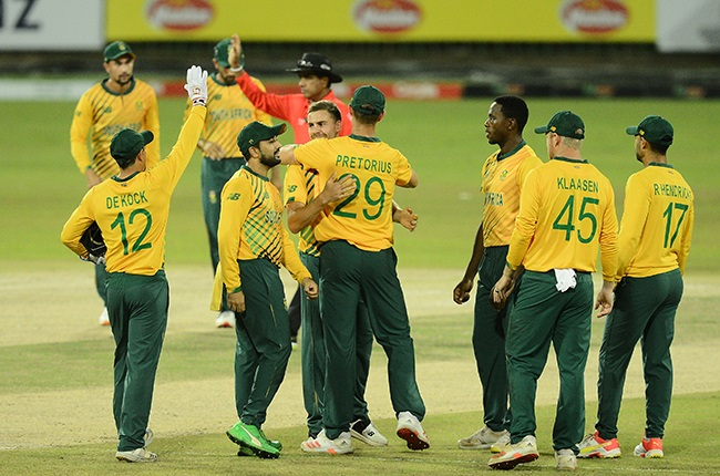 The Proteas celebrate a wicket. (Photo by Isuru Sameera/Gallo Images)
