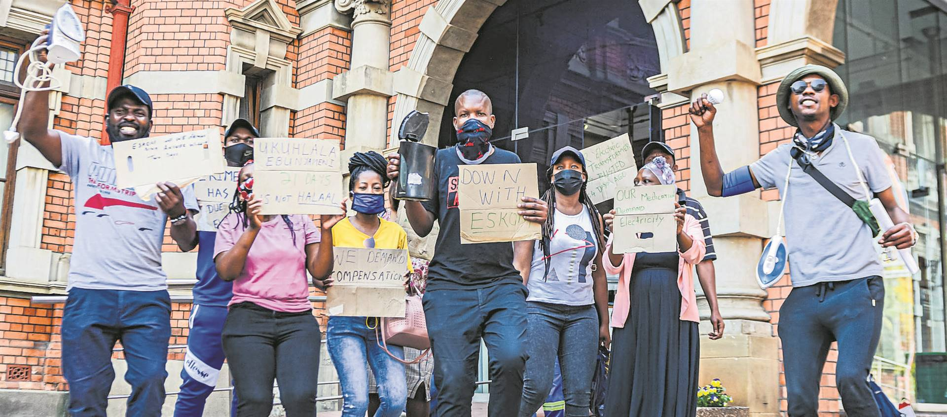 Azalea residents protest outside the Pietermaritzburg City Hall on Tuesday over not having electricity.