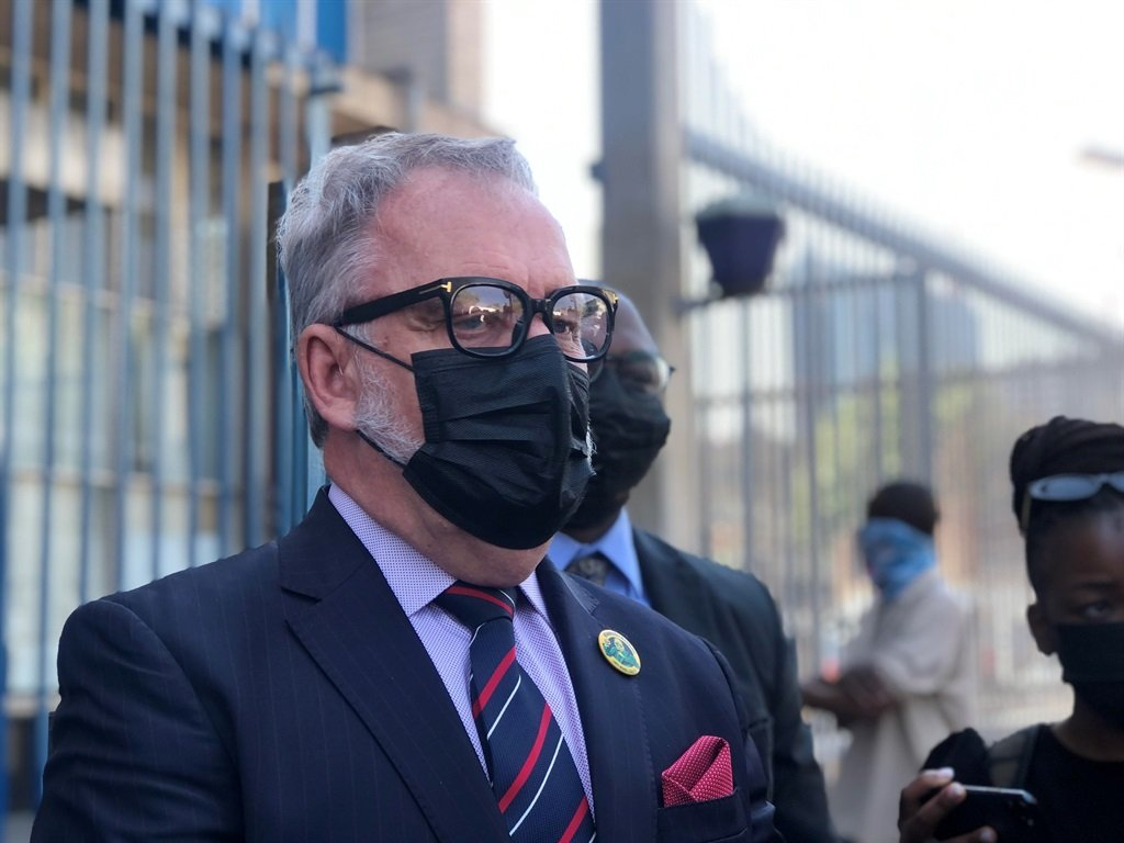 Suspended ANC staff member, Carl Niehaus outside the Johannesburg Central Police Station on Wednesday 15 September 2021 after laying charges against the ANC.