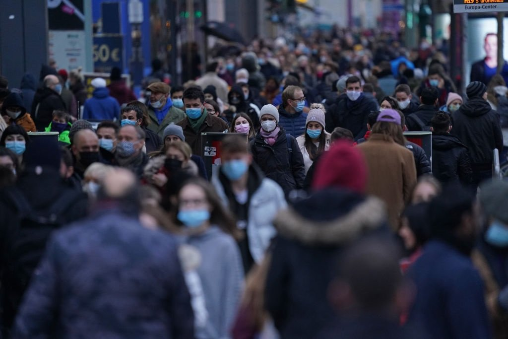 Shoppers crowd Tauntzienstrasse shopping street on Black Friday weekend during the second wave of the coronavirus pandemic on 28 November 2020 in Berlin, Germany.