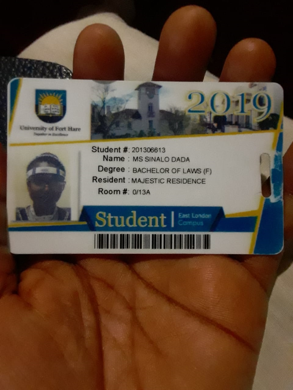 Sinalo Dada student card from UFH