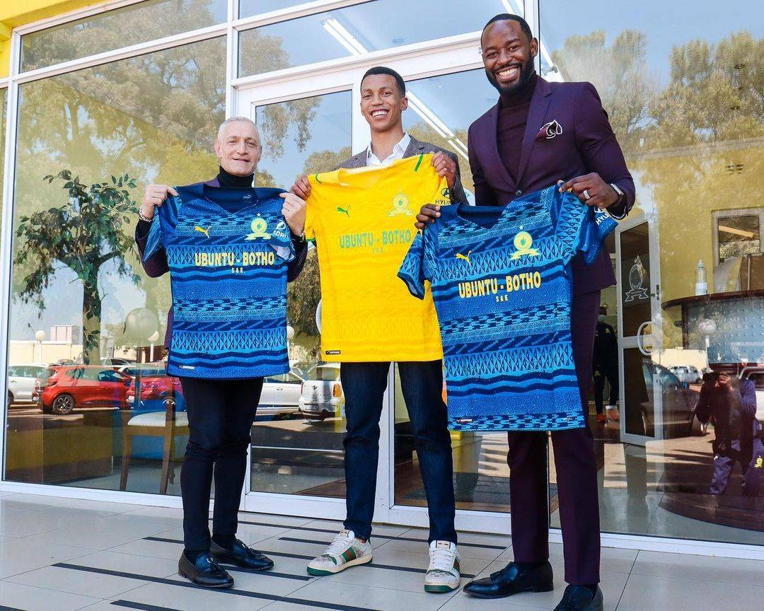 Roc Nation Sports International president Michael Yormark, Sundowns chairperson Tlhopie Motsepe and RocNation director for operations in Africa Isaac Lugudde-Katwe. Photo: Instagram