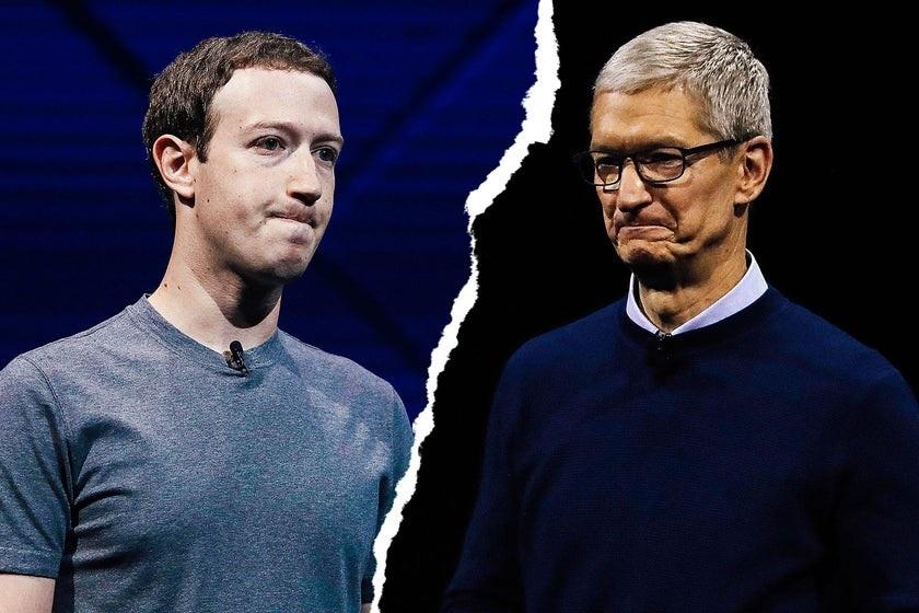 Mark Zuckerberg vs. Tim Cook. Photo illustration b