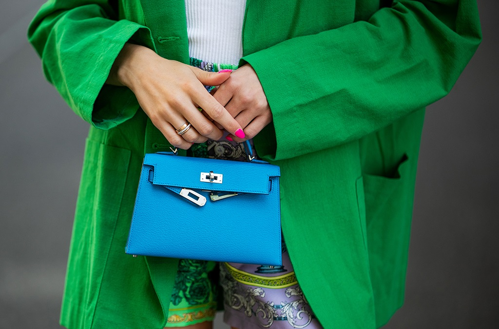 Hermès blue micro bag spotted in Berlin, Germany. (Photo by Christian Vierig/Getty Images)