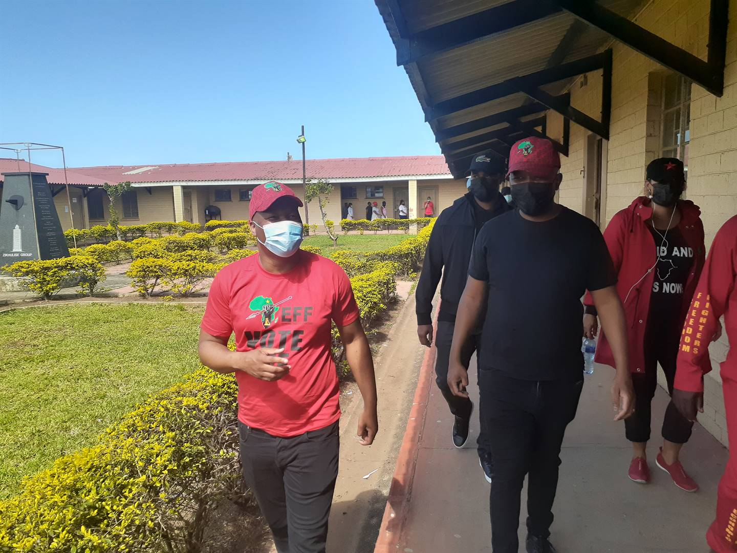 Economic Freedom Fighters leader, Julius Malema (black) with EFF Secretary General, Marshall Dlamini during an election campaign in Durban.PHOTO: Thabiso Goba