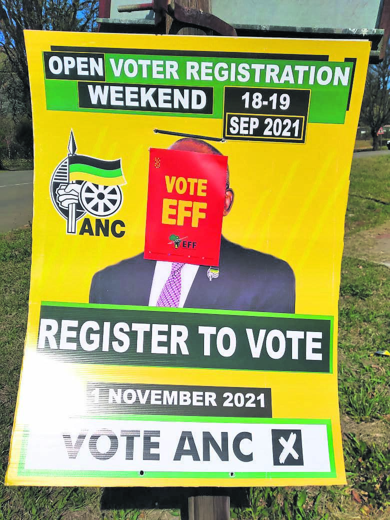 The ANC has accused the EFF of defacing their posters in Underberg.