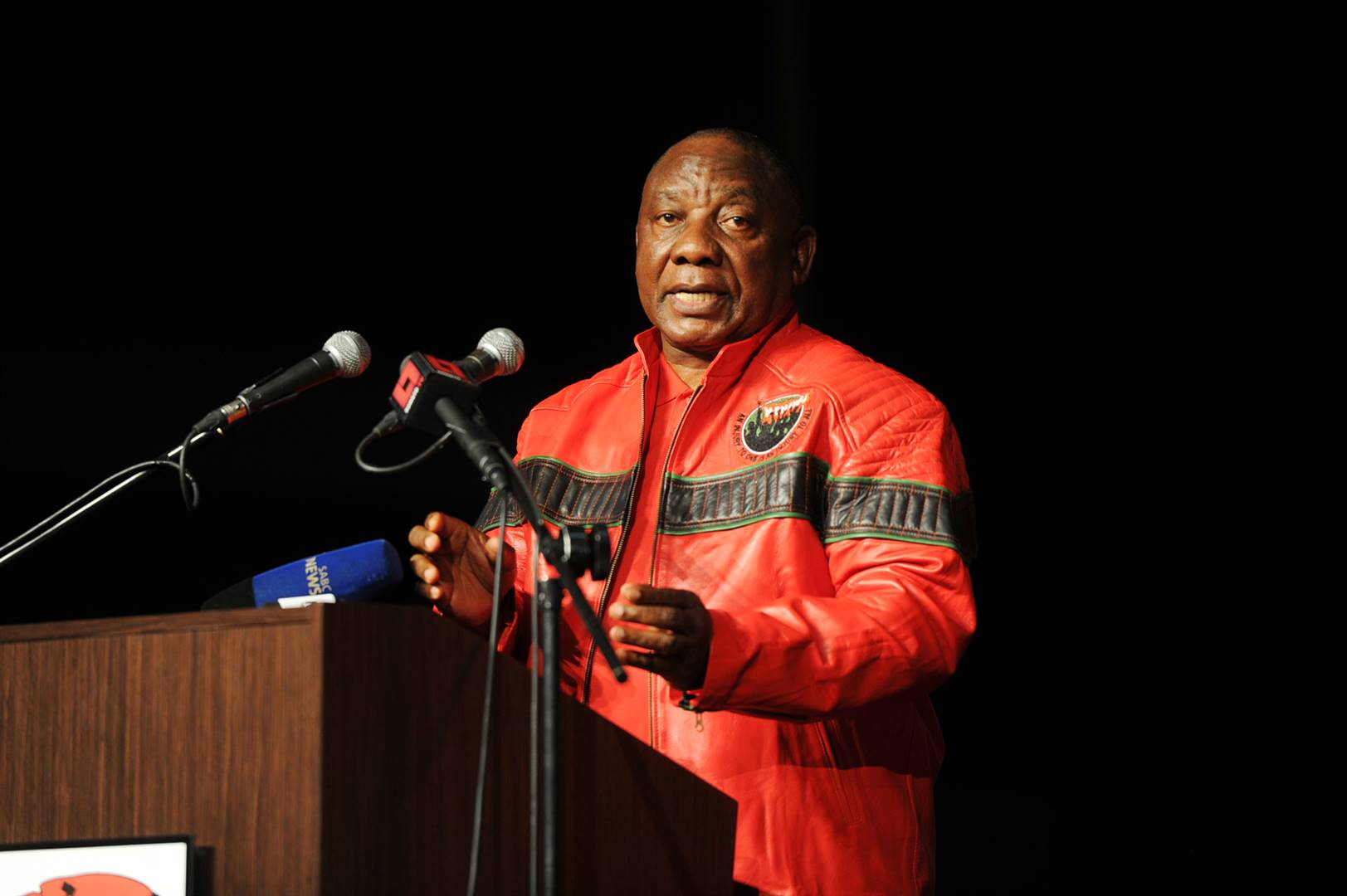 President Cyril Ramaphosa addressing the Cosatu congress in this file photo.