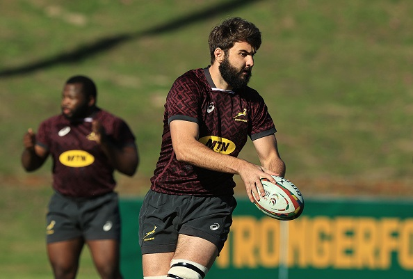 CAPE TOWN, SOUTH AFRICA - AUGUST 02:   Lood de Jager runs with the ball during the South Africa Springbok training session held on August 02, 2021 in Cape Town, South Africa. (Photo by David Rogers/Getty Images)