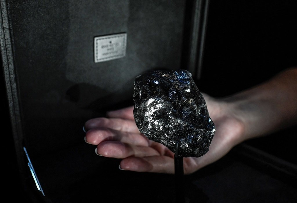 This picture taken on 21 January 2020 shows the second-biggest rough diamond named 'Sewelo', also from the Karowe Mine in Botswana, displayed at place Vendome's Louis Vuitton luxury shop in Paris.
