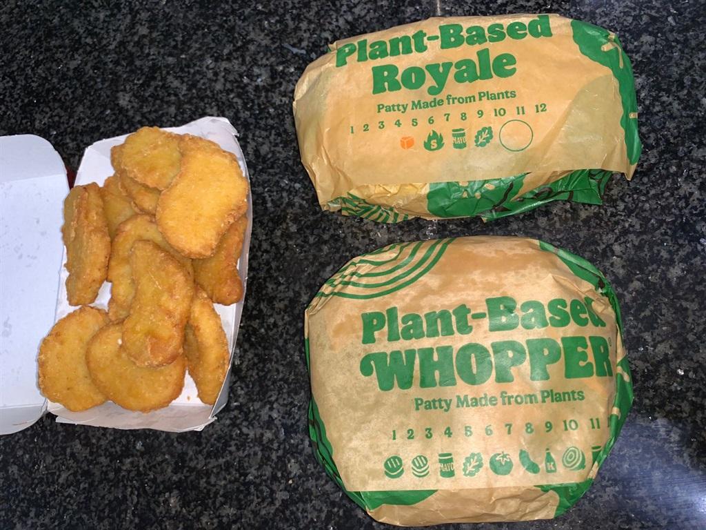 Plant-based whopper, vegan royale and vegan nugget