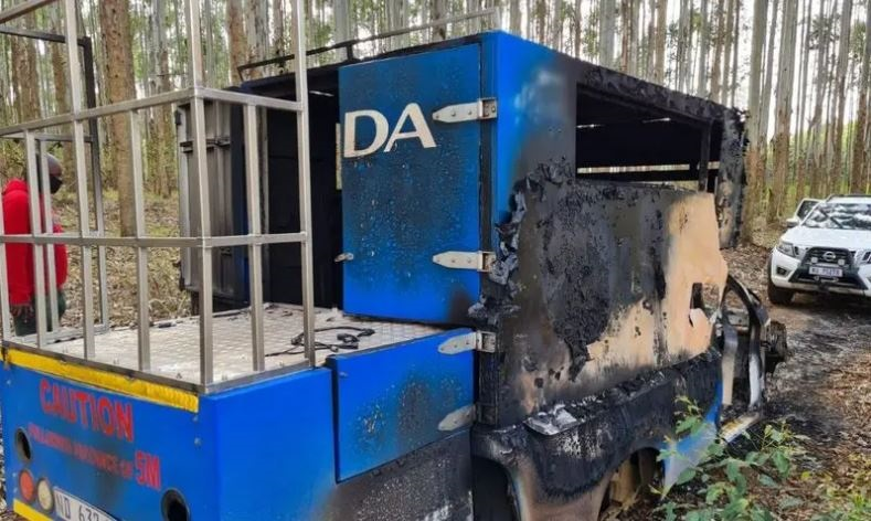 A DA campaign truck that was hijacked and burnt in Ricmond.