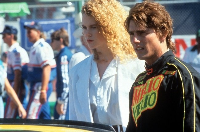 Tom and Nicole as their Days of Thunder characters Cole Trickle and Dr Claire Lewicki in a scene from the 1990 film. (PHOTO: Gallo Images / Getty Images)