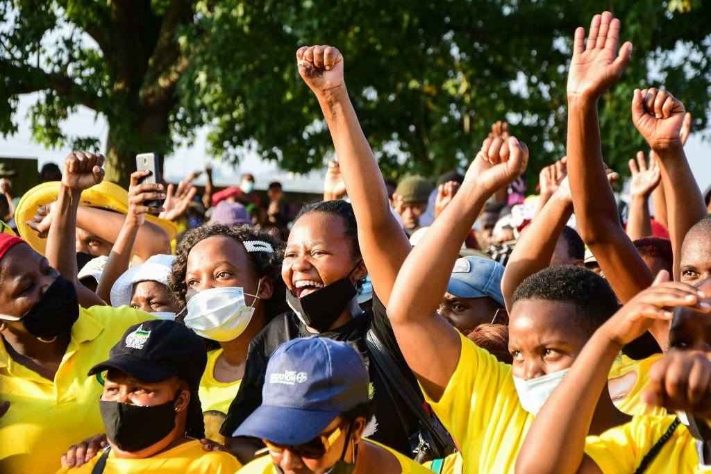 ANC supporters cheer during a by-election campaign in Durban earlier this year.