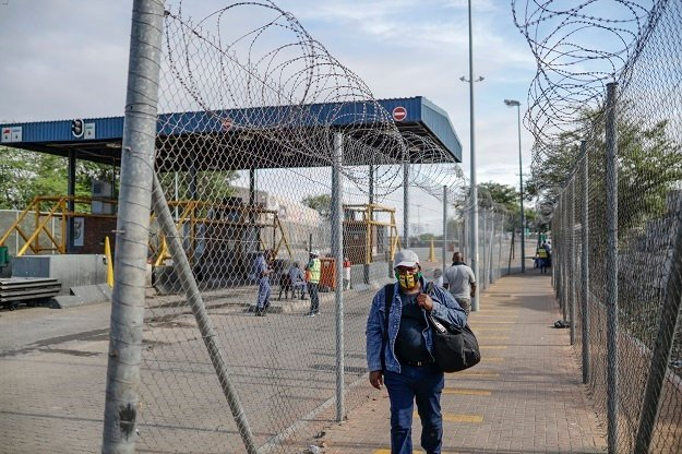 A man walks at the Beitbridge border post.