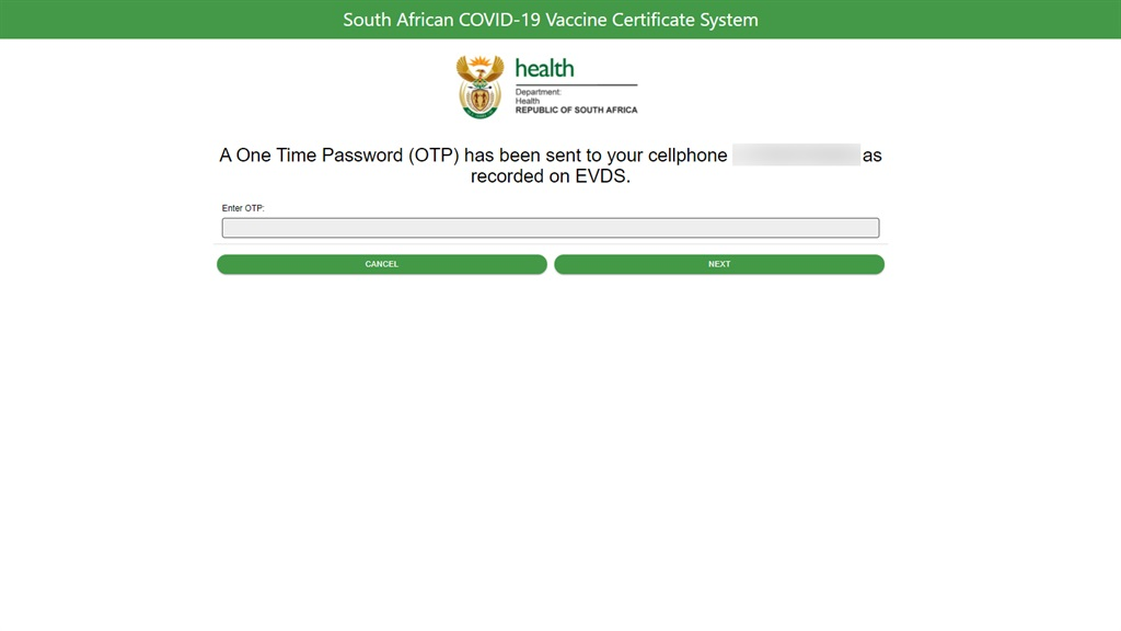 South African Covid-19 Vaccine Certificate System