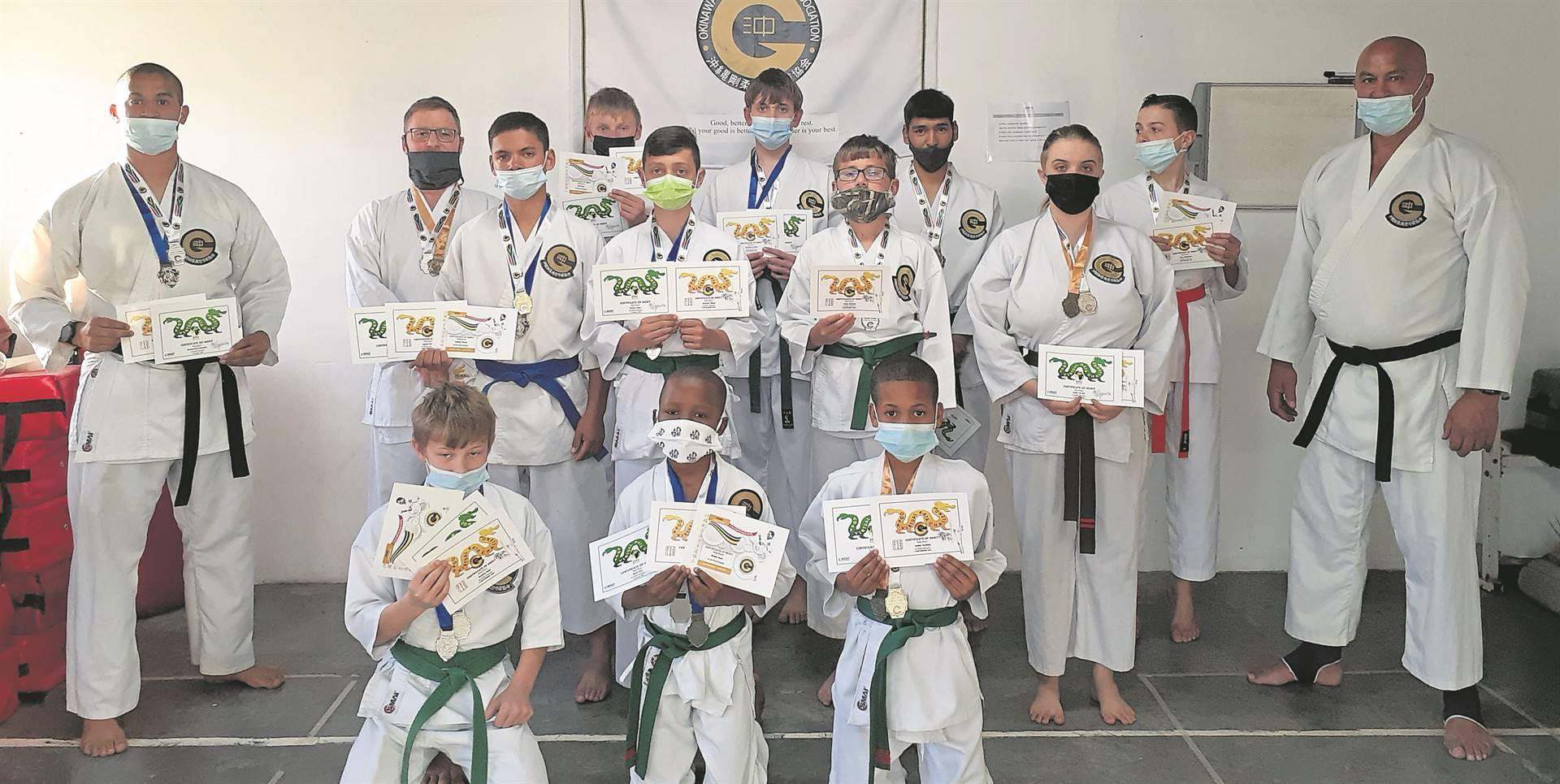 Karatekas of the OGKK Strand dojo participated in the Virtual Karate Kata Competition on Saturday 4 September, as well as the Okinawa goju ryu karate do kyokai Africa (OGKK) and the African goju ryu karate (AGKF) competitions. Karatekas of the Strand dojo secured the following medals five gold, 13 silver and five bronze medals in the OGKK event, as well as 12 silver and 10 bronze medals during the AGKF. Pictured is members of the Strand dojo's Tuesday class with their certificates.